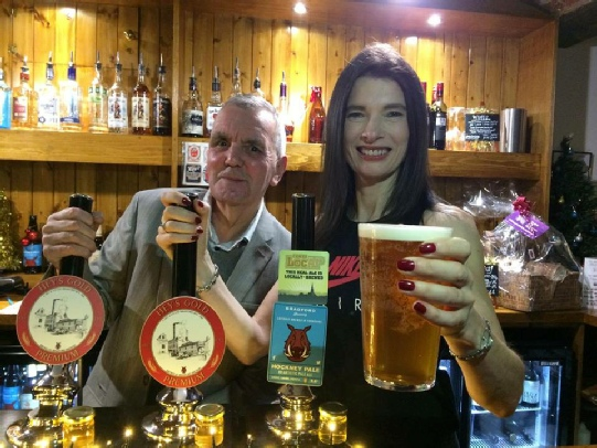 Geoff Poole and Kathryn Hey at the Hey's Gold Premium Launch 1 December 2017. Geoff Poole worked at Hey's Brewery 1962 to February 1967.
